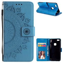 Intricate Embossing Datura Leather Wallet Case for Huawei P10 Lite P10Lite - Blue