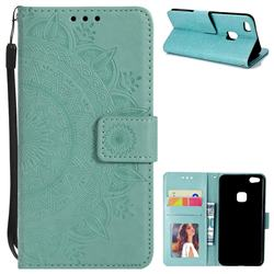 Intricate Embossing Datura Leather Wallet Case for Huawei P10 Lite P10Lite - Mint Green