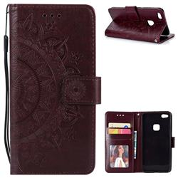 Intricate Embossing Datura Leather Wallet Case for Huawei P10 Lite P10Lite - Brown