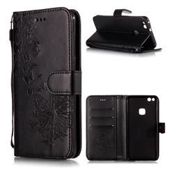 Intricate Embossing Dandelion Butterfly Leather Wallet Case for Huawei P10 Lite P10Lite - Black