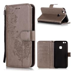 Intricate Embossing Dandelion Butterfly Leather Wallet Case for Huawei P10 Lite P10Lite - Gray