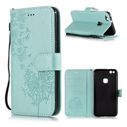 Intricate Embossing Dandelion Butterfly Leather Wallet Case for Huawei P10 Lite P10Lite - Green
