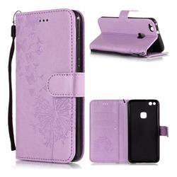 Intricate Embossing Dandelion Butterfly Leather Wallet Case for Huawei P10 Lite P10Lite - Purple