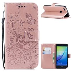 Intricate Embossing Butterfly Circle Leather Wallet Case for Huawei P10 Lite P10Lite - Rose Gold