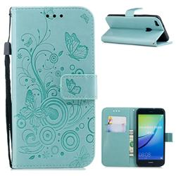 Intricate Embossing Butterfly Circle Leather Wallet Case for Huawei P10 Lite P10Lite - Cyan