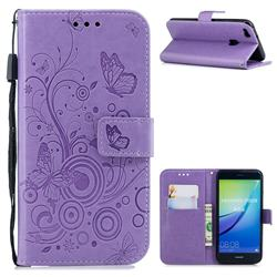 Intricate Embossing Butterfly Circle Leather Wallet Case for Huawei P10 Lite P10Lite - Purple