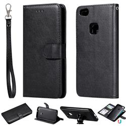 Retro Greek Detachable Magnetic PU Leather Wallet Phone Case for Huawei P10 Lite P10Lite - Black