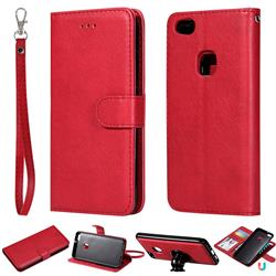 Retro Greek Detachable Magnetic PU Leather Wallet Phone Case for Huawei P10 Lite P10Lite - Red