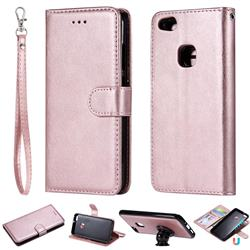 Retro Greek Detachable Magnetic PU Leather Wallet Phone Case for Huawei P10 Lite P10Lite - Rose Gold