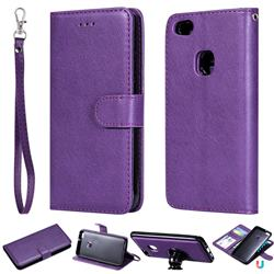 Retro Greek Detachable Magnetic PU Leather Wallet Phone Case for Huawei P10 Lite P10Lite - Purple