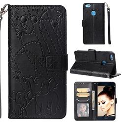Embossing Fireworks Elephant Leather Wallet Case for Huawei P10 Lite P10Lite - Black