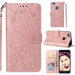 Embossing Fireworks Elephant Leather Wallet Case for Huawei P10 Lite P10Lite - Rose Gold