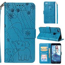 Embossing Fireworks Elephant Leather Wallet Case for Huawei P10 Lite P10Lite - Blue