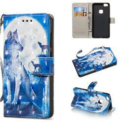 Ice Wolf 3D Painted Leather Wallet Phone Case for Huawei P10 Lite P10Lite