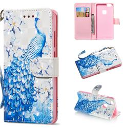 Blue Peacock 3D Painted Leather Wallet Phone Case for Huawei P10 Lite P10Lite