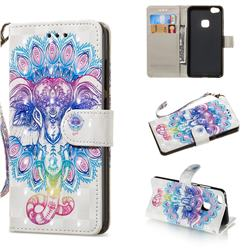 Colorful Elephant 3D Painted Leather Wallet Phone Case for Huawei P10 Lite P10Lite