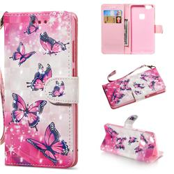 Pink Butterfly 3D Painted Leather Wallet Phone Case for Huawei P10 Lite P10Lite