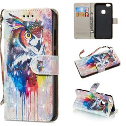 Watercolor Owl 3D Painted Leather Wallet Phone Case for Huawei P10 Lite P10Lite