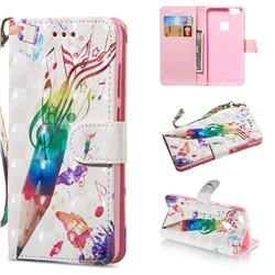 Music Pen 3D Painted Leather Wallet Phone Case for Huawei P10 Lite P10Lite