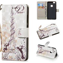 Tower Couple 3D Painted Leather Wallet Phone Case for Huawei P10 Lite P10Lite