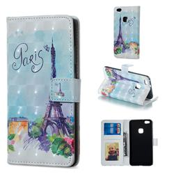 Paris Tower 3D Painted Leather Phone Wallet Case for Huawei P10 Lite P10Lite