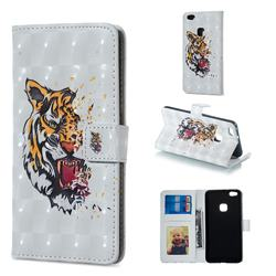 Toothed Tiger 3D Painted Leather Phone Wallet Case for Huawei P10 Lite P10Lite
