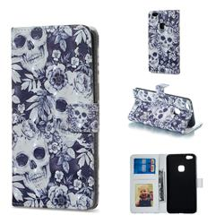 Skull Flower 3D Painted Leather Phone Wallet Case for Huawei P10 Lite P10Lite
