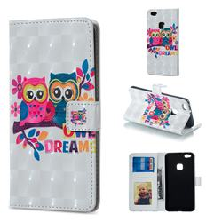 Couple Owl 3D Painted Leather Phone Wallet Case for Huawei P10 Lite P10Lite