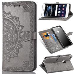 Embossing Imprint Mandala Flower Leather Wallet Case for Huawei P10 Lite P10Lite - Gray