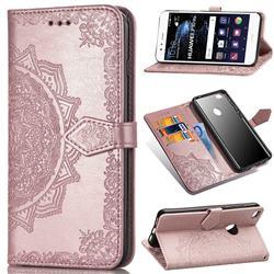 Embossing Imprint Mandala Flower Leather Wallet Case for Huawei P10 Lite P10Lite - Rose Gold