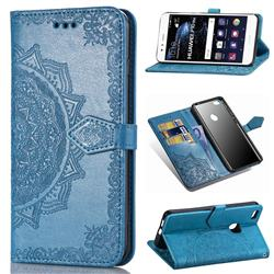 Embossing Imprint Mandala Flower Leather Wallet Case for Huawei P10 Lite P10Lite - Blue