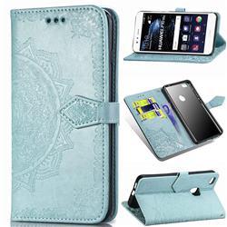 Embossing Imprint Mandala Flower Leather Wallet Case for Huawei P10 Lite P10Lite - Green