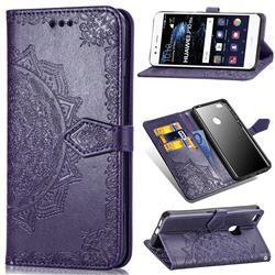 Embossing Imprint Mandala Flower Leather Wallet Case for Huawei P10 Lite P10Lite - Purple