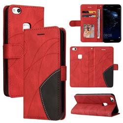 Luxury Two-color Stitching Leather Wallet Case Cover for Huawei P10 Lite P10Lite - Red