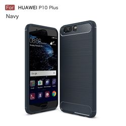 Luxury Carbon Fiber Brushed Wire Drawing Silicone TPU Back Cover for Huawei P10 Plus (Navy)