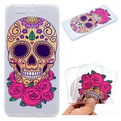 Skeleton Flower Super Clear Soft TPU Back Cover for Huawei P10 Plus