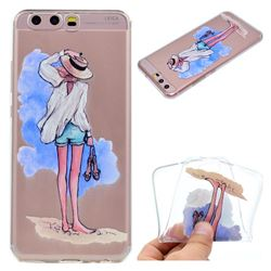 Beach Girl Super Clear Soft TPU Back Cover for Huawei P10 Plus