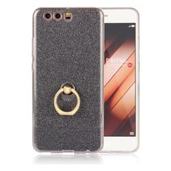 Luxury Soft TPU Glitter Back Ring Cover with 360 Rotate Finger Holder Buckle for Huawei P10 Plus - Black