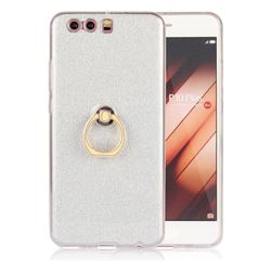 Luxury Soft TPU Glitter Back Ring Cover with 360 Rotate Finger Holder Buckle for Huawei P10 Plus - White