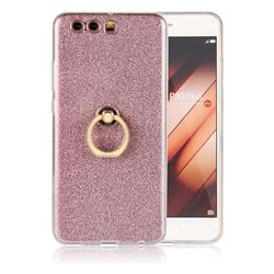 Luxury Soft TPU Glitter Back Ring Cover with 360 Rotate Finger Holder Buckle for Huawei P10 Plus - Pink