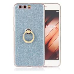Luxury Soft TPU Glitter Back Ring Cover with 360 Rotate Finger Holder Buckle for Huawei P10 Plus - Blue