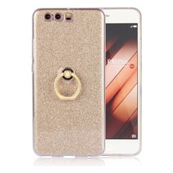 Luxury Soft TPU Glitter Back Ring Cover with 360 Rotate Finger Holder Buckle for Huawei P10 Plus - Golden