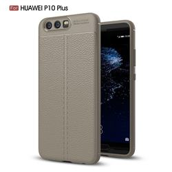 Luxury Auto Focus Litchi Texture Silicone TPU Back Cover for Huawei P10 Plus - Gray