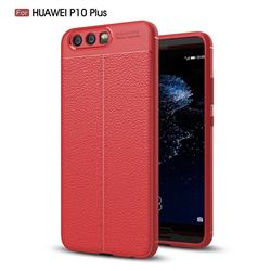 Luxury Auto Focus Litchi Texture Silicone TPU Back Cover for Huawei P10 Plus - Red