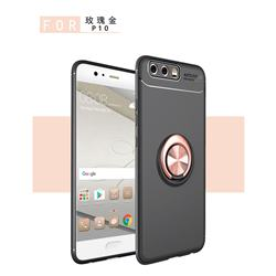 Auto Focus Invisible Ring Holder Soft Phone Case for Huawei P10 Plus - Black Gold