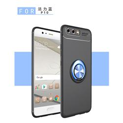 Auto Focus Invisible Ring Holder Soft Phone Case for Huawei P10 Plus - Black Blue