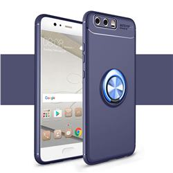 Auto Focus Invisible Ring Holder Soft Phone Case for Huawei P10 Plus - Blue