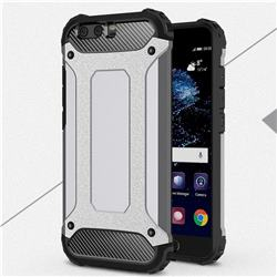 King Kong Armor Premium Shockproof Dual Layer Rugged Hard Cover for Huawei P10 Plus - Silver Grey
