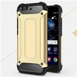 King Kong Armor Premium Shockproof Dual Layer Rugged Hard Cover for Huawei P10 Plus - Champagne Gold
