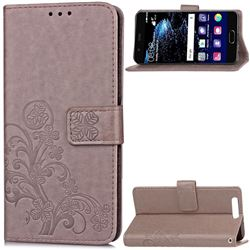 Embossing Imprint Four-Leaf Clover Leather Wallet Case for Huawei P10 Plus - Grey